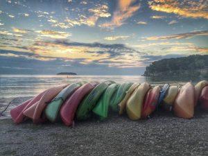 kayaks put away for the night