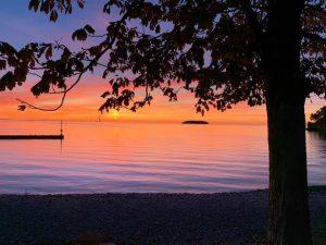 glassy sunset lake erie