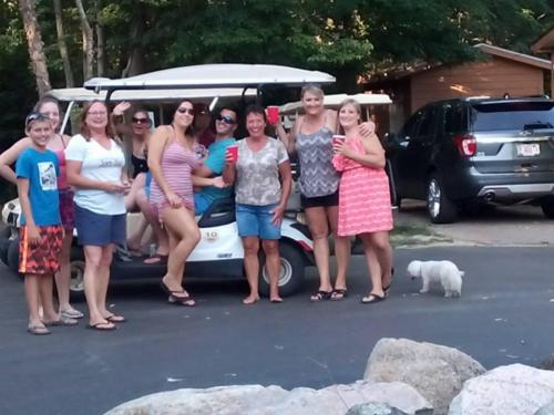 Girls about to Golf Cart
