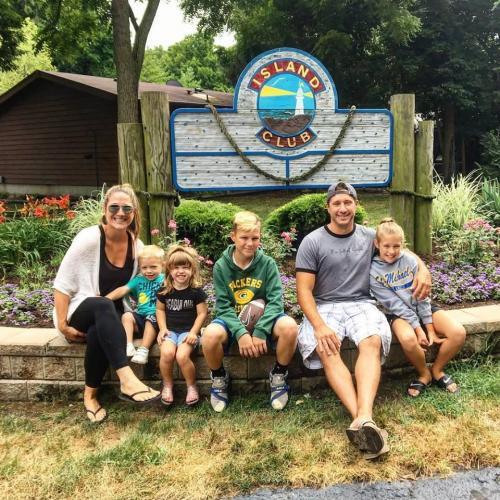 Family at Island Club Entrance